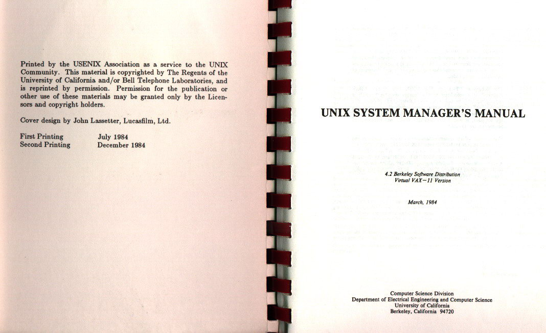 Pages 2 et 3 du manuel de l'administrateur syst�me de 4.2BSD Virtual VAX 11 version