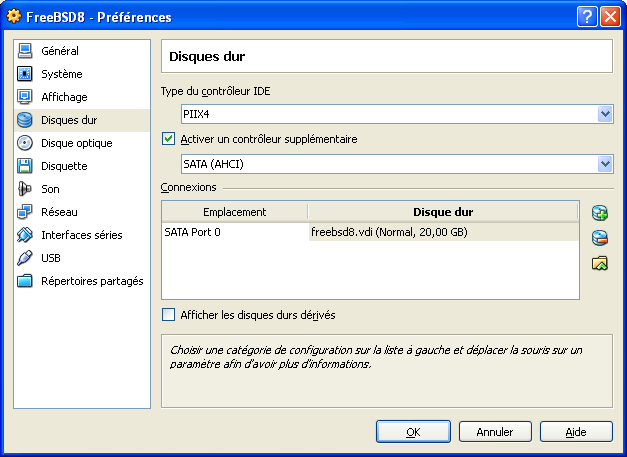 VirtualBox - Param�trage du disque dur virtuel